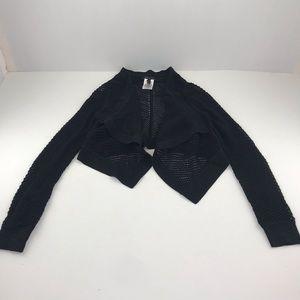BCBG MaxAzria Black Open Knit Cropped Cardigan